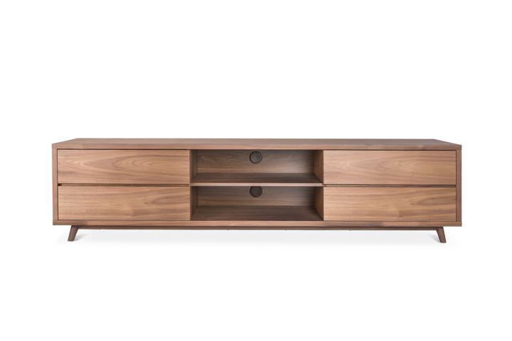 Walnut Low Profile Media Center w/drawers | Tv stand ...