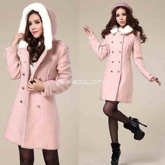 SHINECLOTH Black Pink Wool Coat Double Breasted Button Pea Coat ...