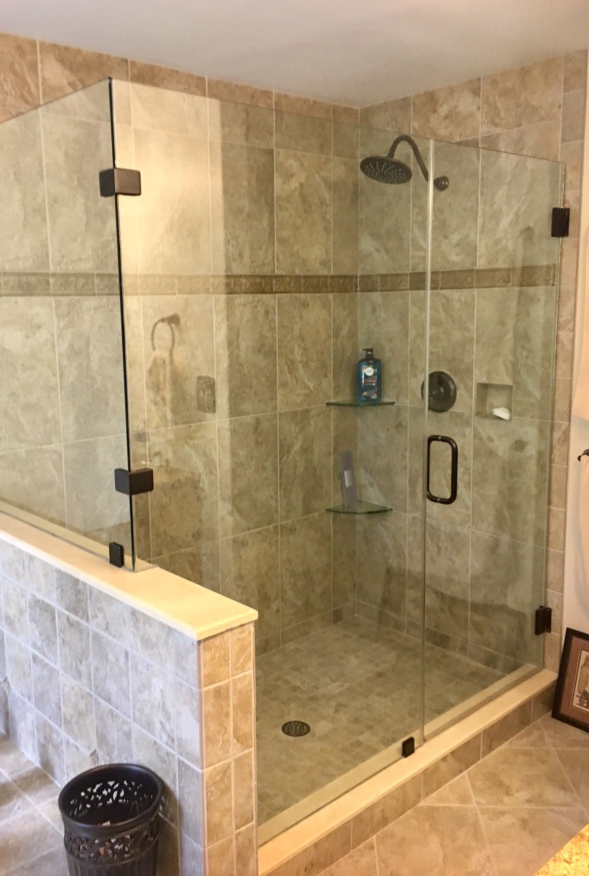 12x24 Grey Wall Tiles Shower Niche 2x2 Mosaic Floor Glass Stone Linear Mosaic Accent Stripe And Tile Shower Niche Shower Tile Small Bathroom With Shower