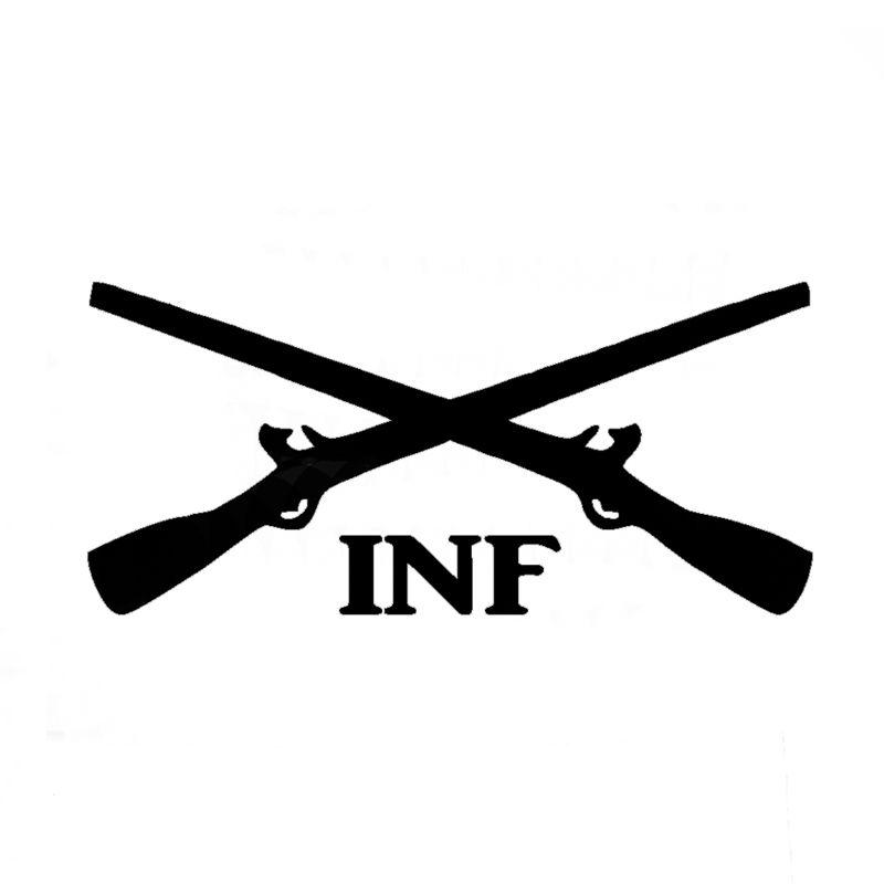 Wholesale 10pcs lot 20pcs lot infantry crossed rifles vinyl decal army inf car window