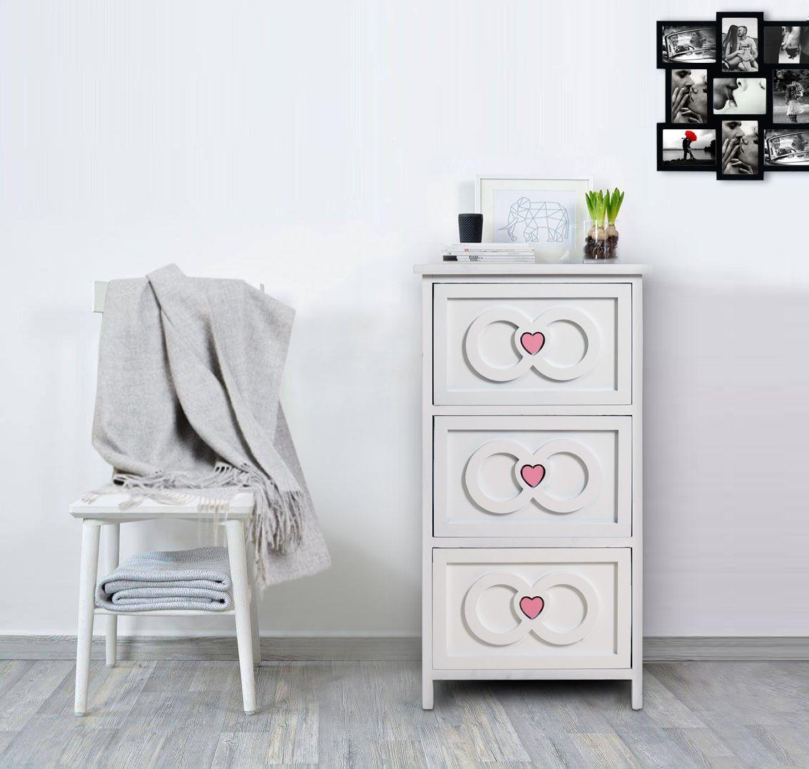 Cassettiera bianca in stile shabby chic tre cassetti con - Decorazioni mobili shabby chic ...