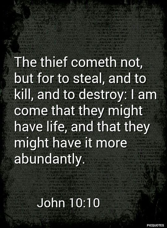 John 10:10 KJV -The thief cometh not, but for to steal, and