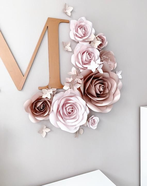 Paper Flowers Wall Decor - Blush Nursery Wall Decor - Paper Flowers Set - Paper Flower Decor - Nursery Paper Flower - Nursery Wall Decor #largepaperflowers