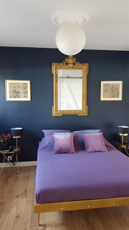 relooking chambrechambre mur foncchambre bleu ptrolechambre bleu paonhome