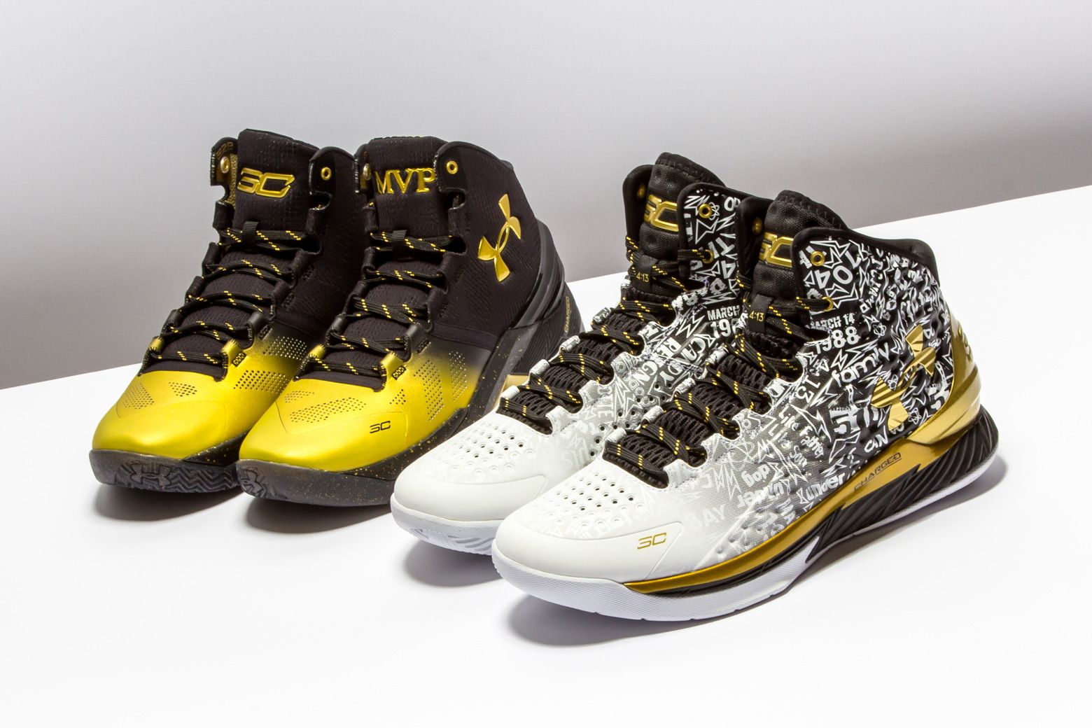 48631a551a85 Under Armour dropped this two-shoe pack to commemorate Stephen Curry s back -to-back NBA MVPs.