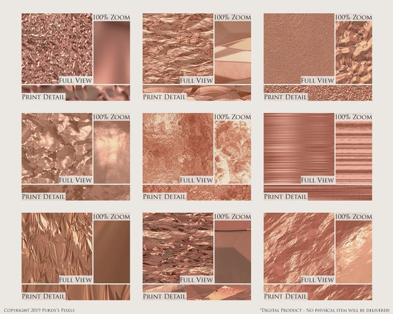graphic regarding Printable Foil Paper referred to as Electronic Rose Gold Foil Paper Pack - 9 Seamless Steel Rose