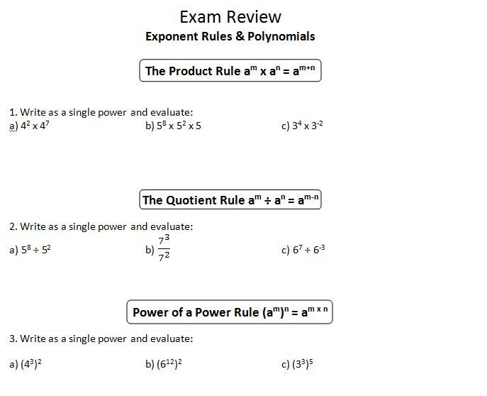 Printables Product Rule And Quotient Rule Exponents Worksheet powers of products and quotients worksheet davezan 1000 images about math ideas on pinterest quadratic function rule davezan