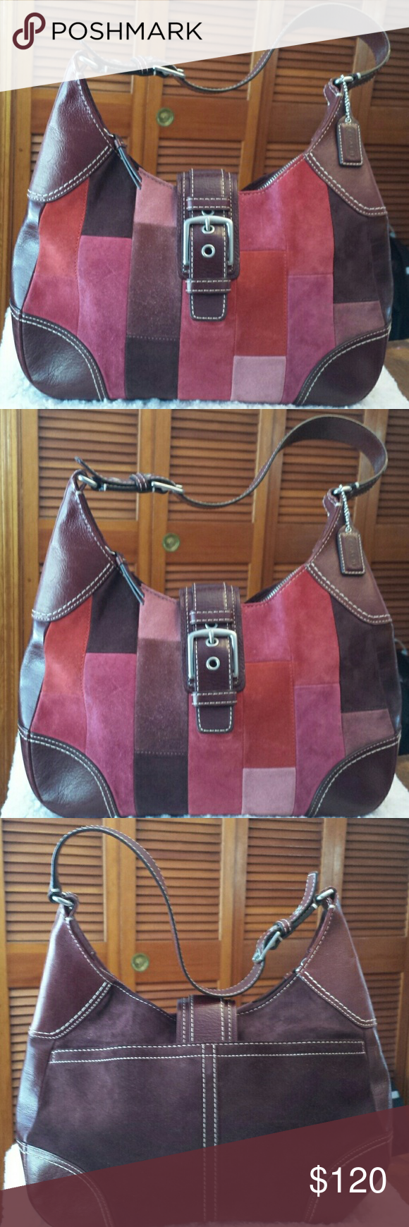 Coach Happy Holly Berry Hampton Mosaic Bag RARE-Coach Suede Happy Holly  Hampton Mosaic Hobo Bag, Creed F11217, Suede and Leather Pink, Burgundy and  Brown ... a5af9bc9db