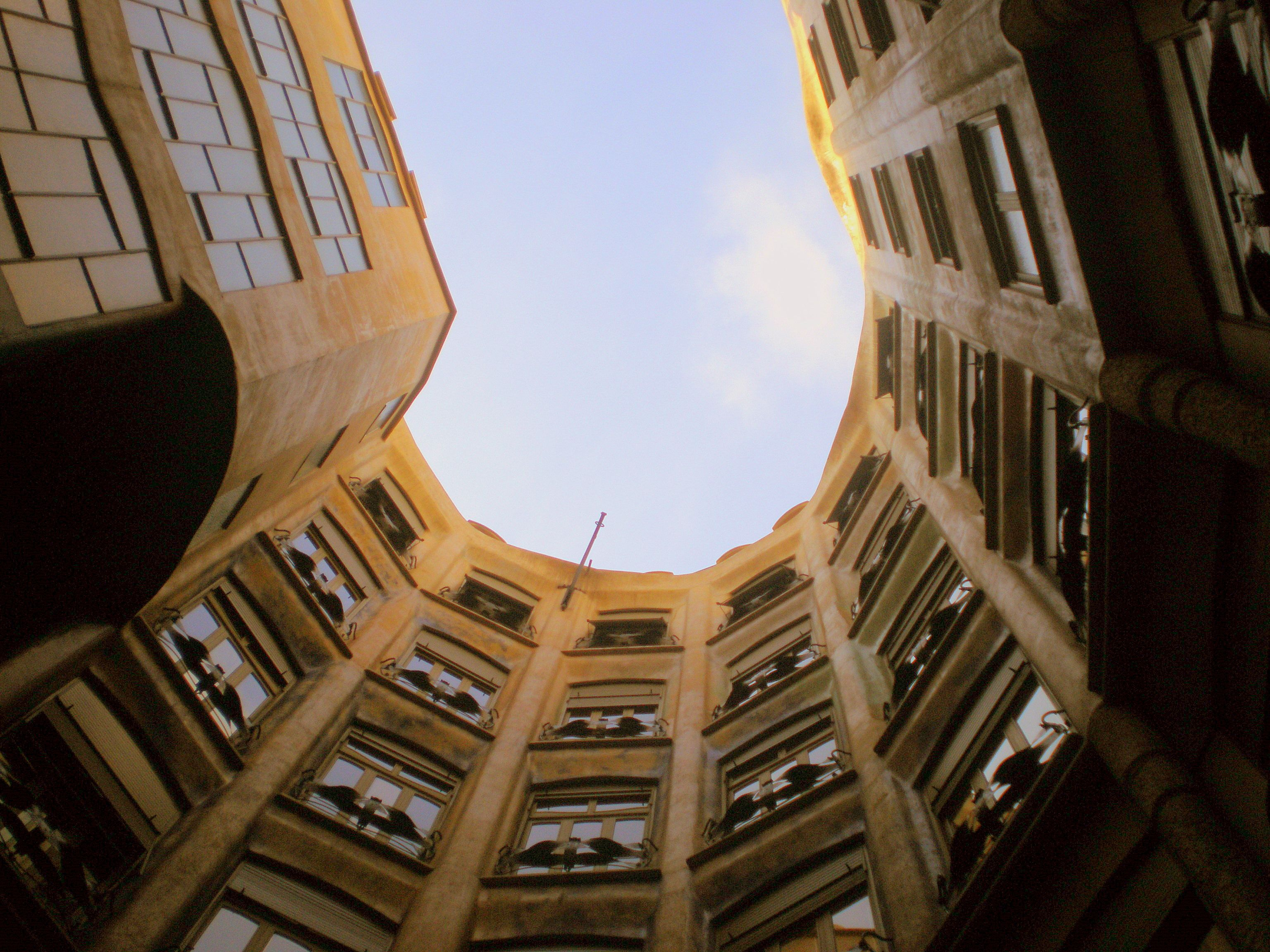 Casa Milá, completed in 1910, a private housing building also known as La Pedrera, a controversial building on Passeig de Gràcia, Barcelona.by Antoni Gaudi