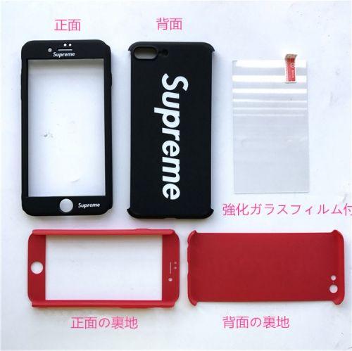 ec11c68019 ブランド シュプリーム iPhoneフルカバーケース ストラップ付き Supreme iphone7ケース 全面保護 ガラスフィルム付き 頑丈