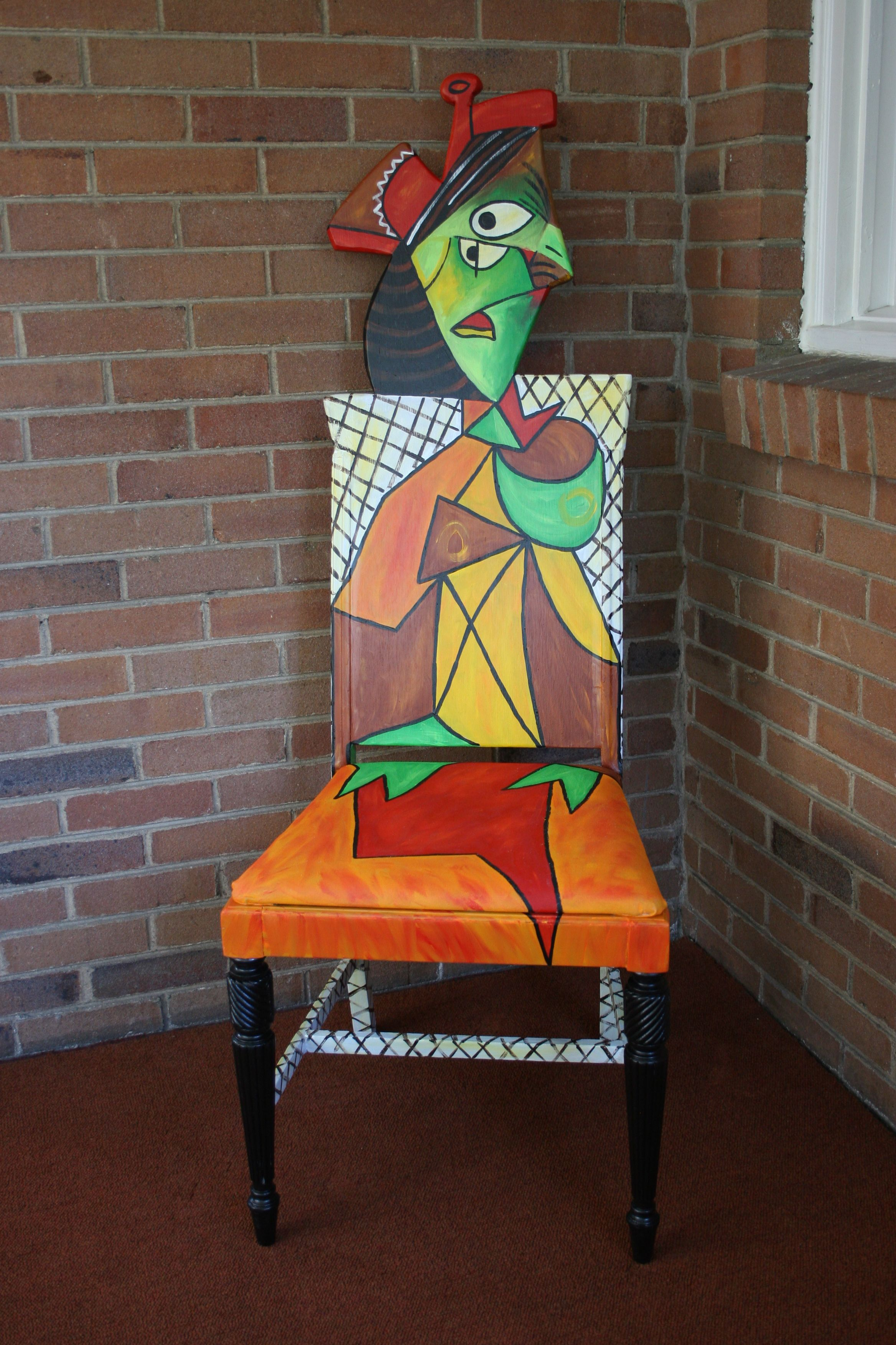 picasso style handpainted chair by artist todd fendos. Black Bedroom Furniture Sets. Home Design Ideas