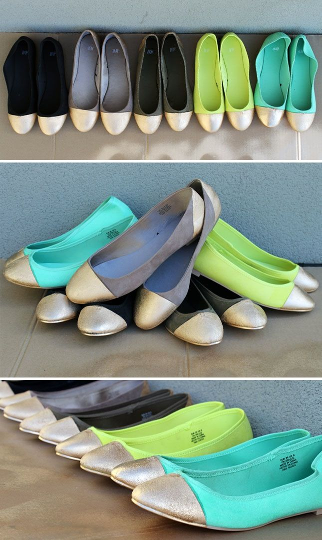 What good is going green without a little bit of gold? Create a wearable pot of gold by sprucing up boring ballet flats with a little help from your trusty can of gold spray paint.