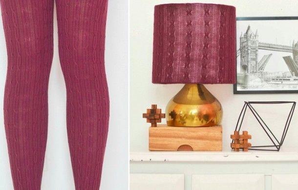 Diy Geef Je Lamp Een Nieuwe Look Met Een Oude Legging Thuisdecoratie Lampenkap Scandinavische Interieurs