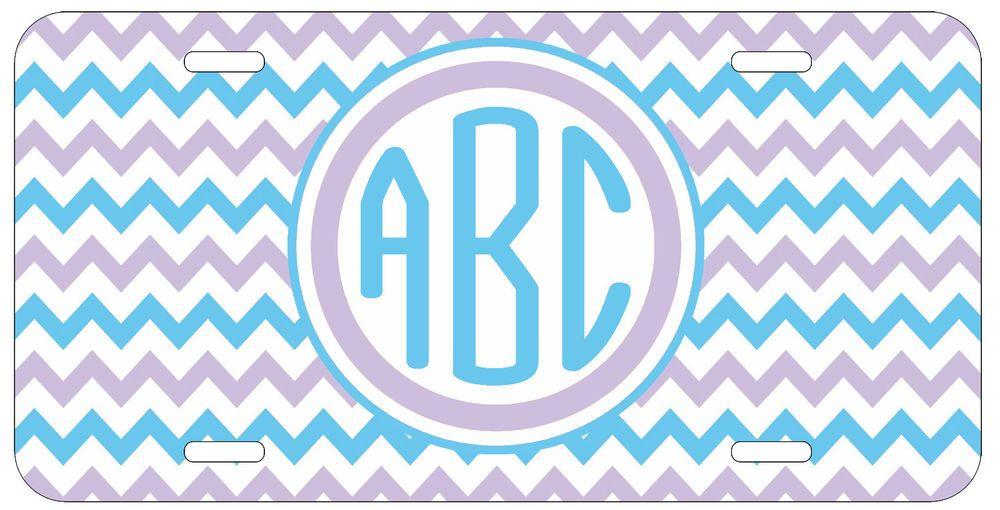 Personalized Monogrammed Chevron Light Blue Purple License Plate Custom Car L037