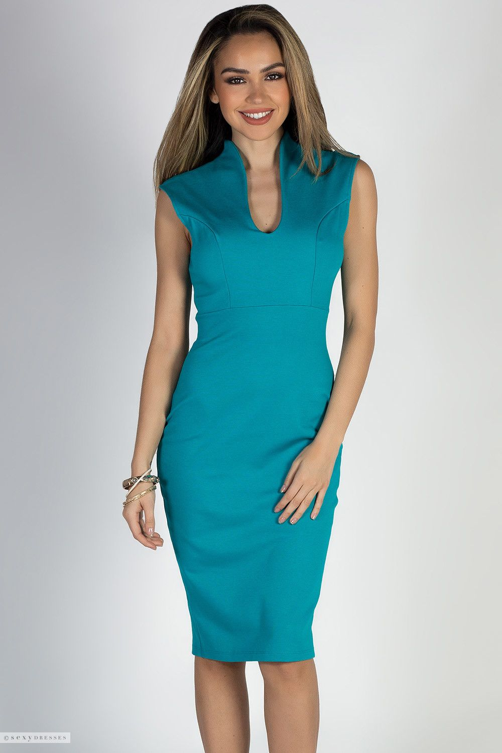 High Collar Scoop Neck Sleeveless Fitted Midi Sexy Jade Dress ...