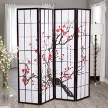 Walmart: Cherry Blossom Rosewood 4 Panel Room Divider