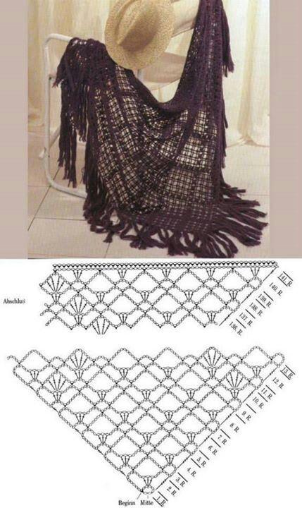 scialle prugna | Crochet | Pinterest | Chal, Ganchillo y Tejido
