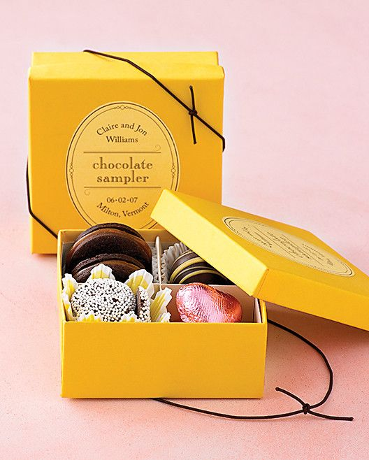 Chocolate is always a big hit, especially in a personalized sampler favor box.