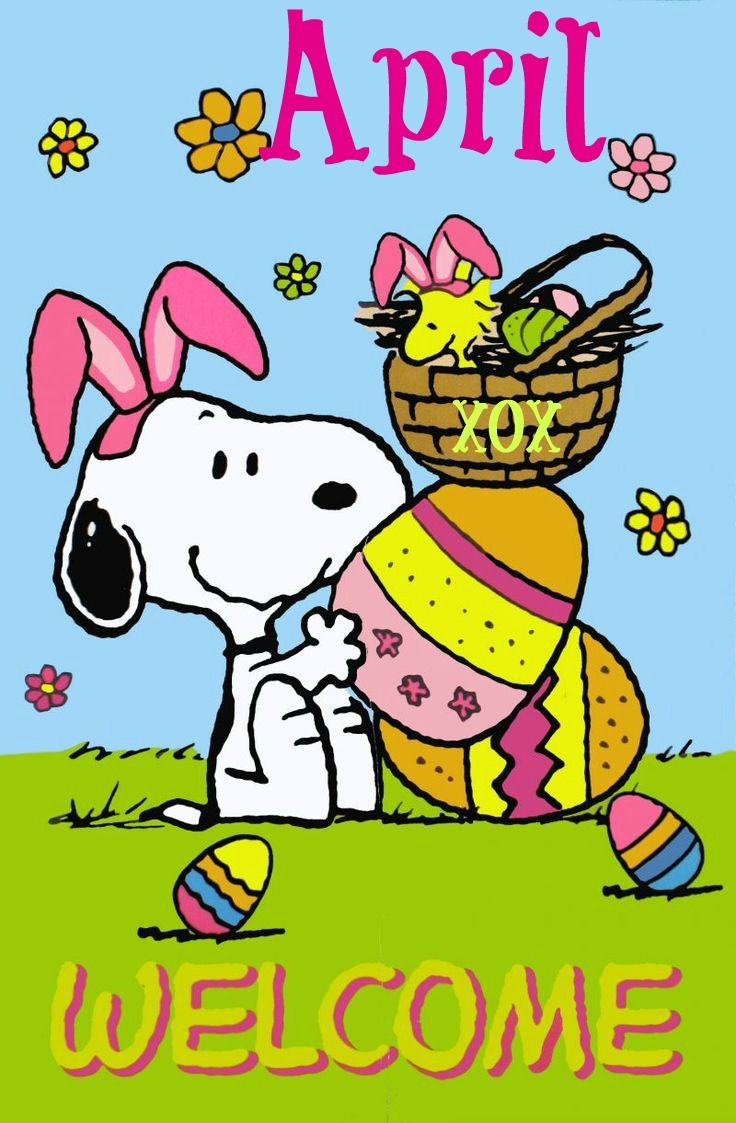 Snoopy Welcome April | SNOOPY | Snoopy, Charlie brown ...