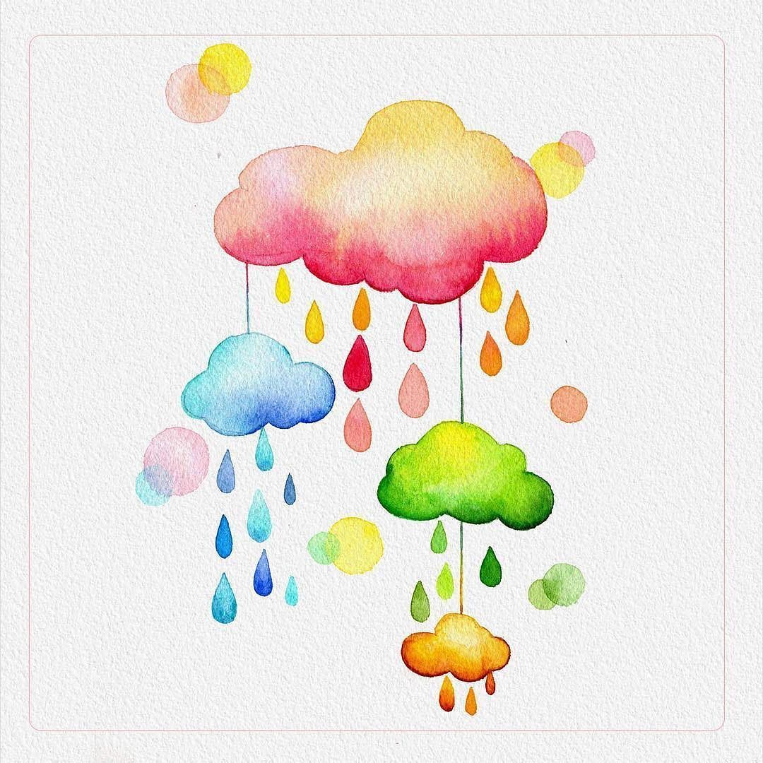 Rainbow Cloud. Watercolor Art. www.paperhouse.me (Worldwide Tracked Shipping)