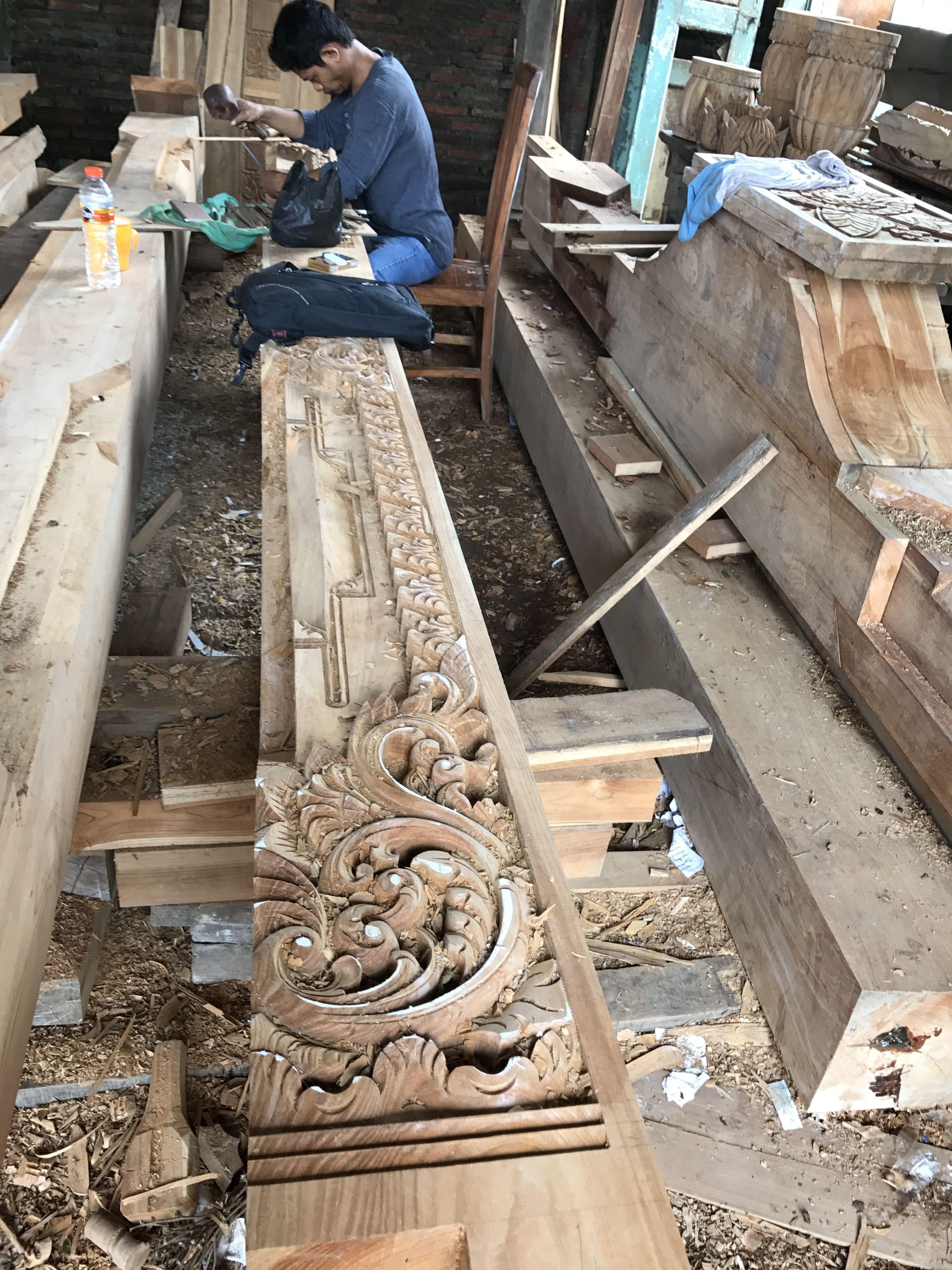 Proses Ukir Joglo Tiang 30x30cm Dengan