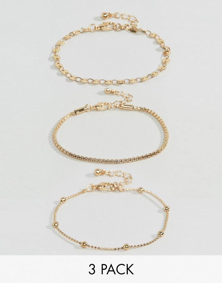 DESIGN Pack Of 2 Disc Chain And Woven Friendship Bracelets - Gold Asos lFgABM7
