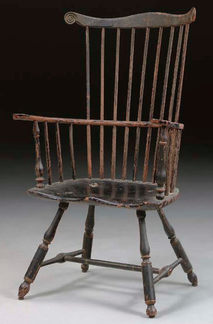 Antique chairs · A PAINT-DECORATED COMB-BACK WINDSOR ARMCHAIR PHILADELPHIA,  1760-1790 44¼ in - A PAINT-DECORATED COMB-BACK WINDSOR ARMCHAIR PHILADELPHIA, 1760-1790