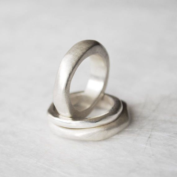 Organic ring silver wide ring of voluptuous partner ring ring