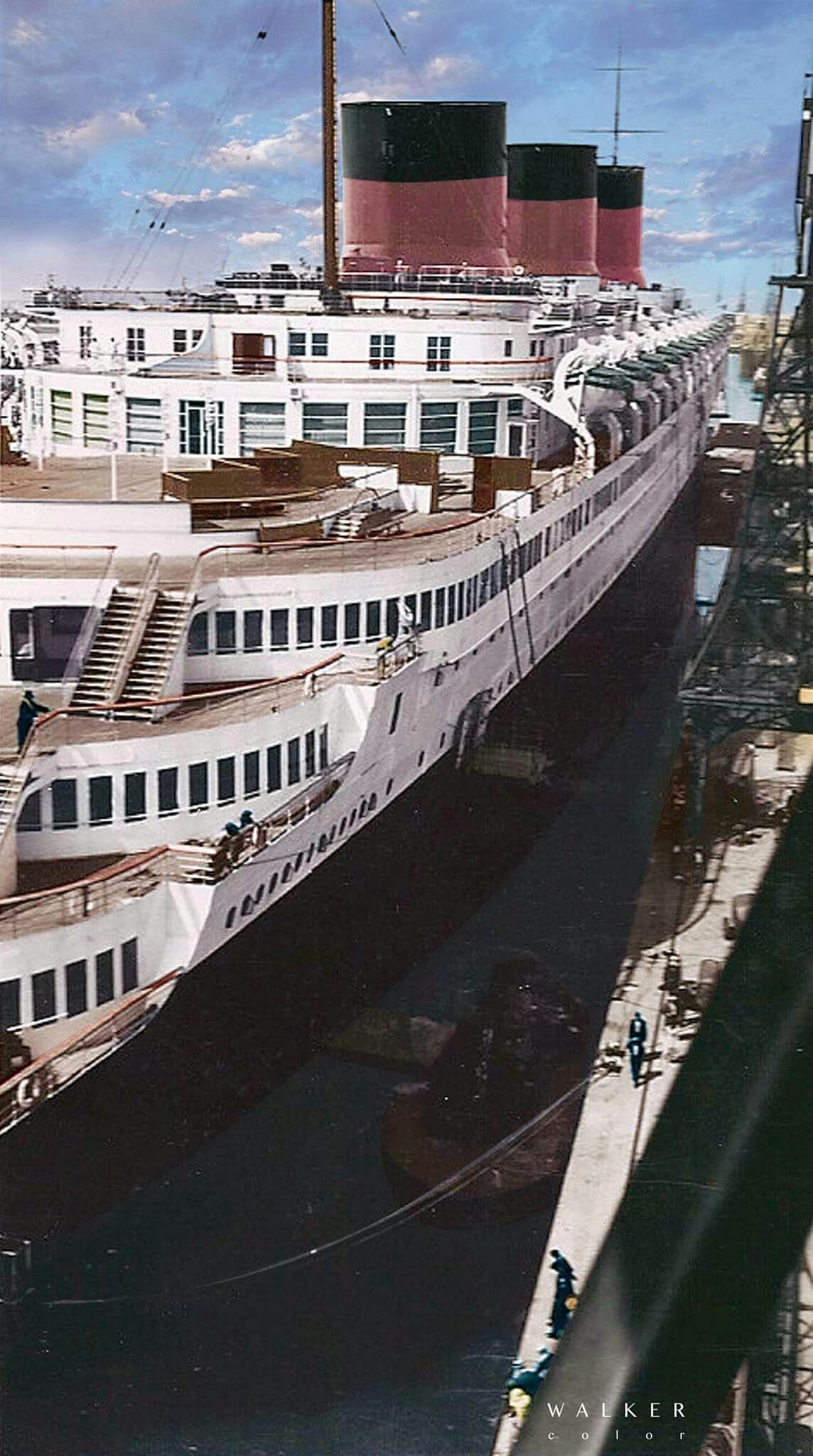 The Normandie Rare Stern View Famous Shipbuilders
