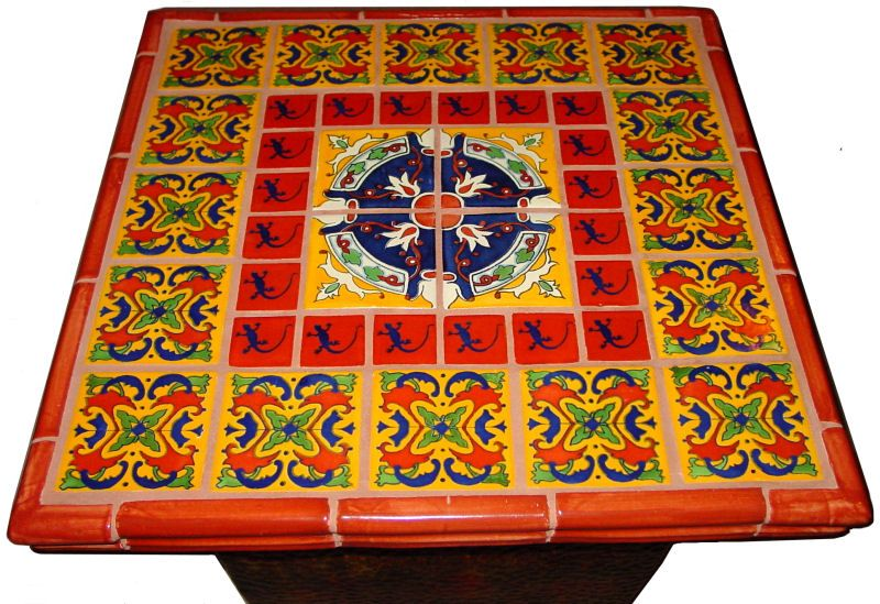 mexican tile decorating a table top