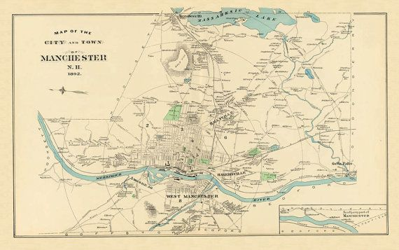 Antique Manchester New Hampshire Map Family Room Pinterest - Manchester new hampshire map