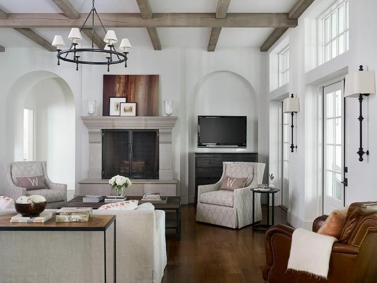 Gray And White Transitional Rustic Living Room With: Gray Wash Wood Beams Accent The White Ceiling Of This