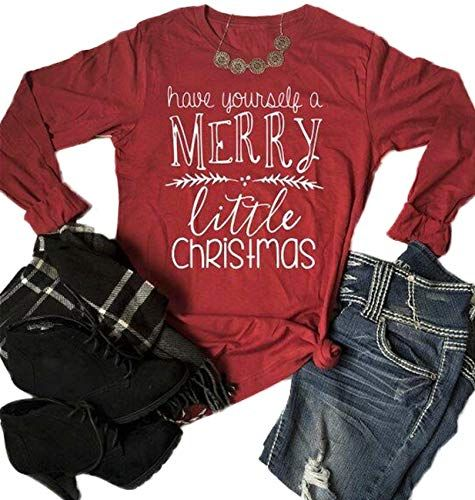 7a18d3f1812 The perfect Have Yourself a Merry Little Christmas T-Shirt Women Long  Sleeve Letter Print Cute Tee Tops Christmas Clothing.