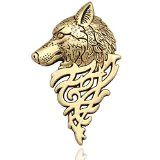 Q&Q Fashion Art Nouveau Dire Wolf Head Coyote Antique NAVAJO Zuni Lapel Brooch Pin Badge