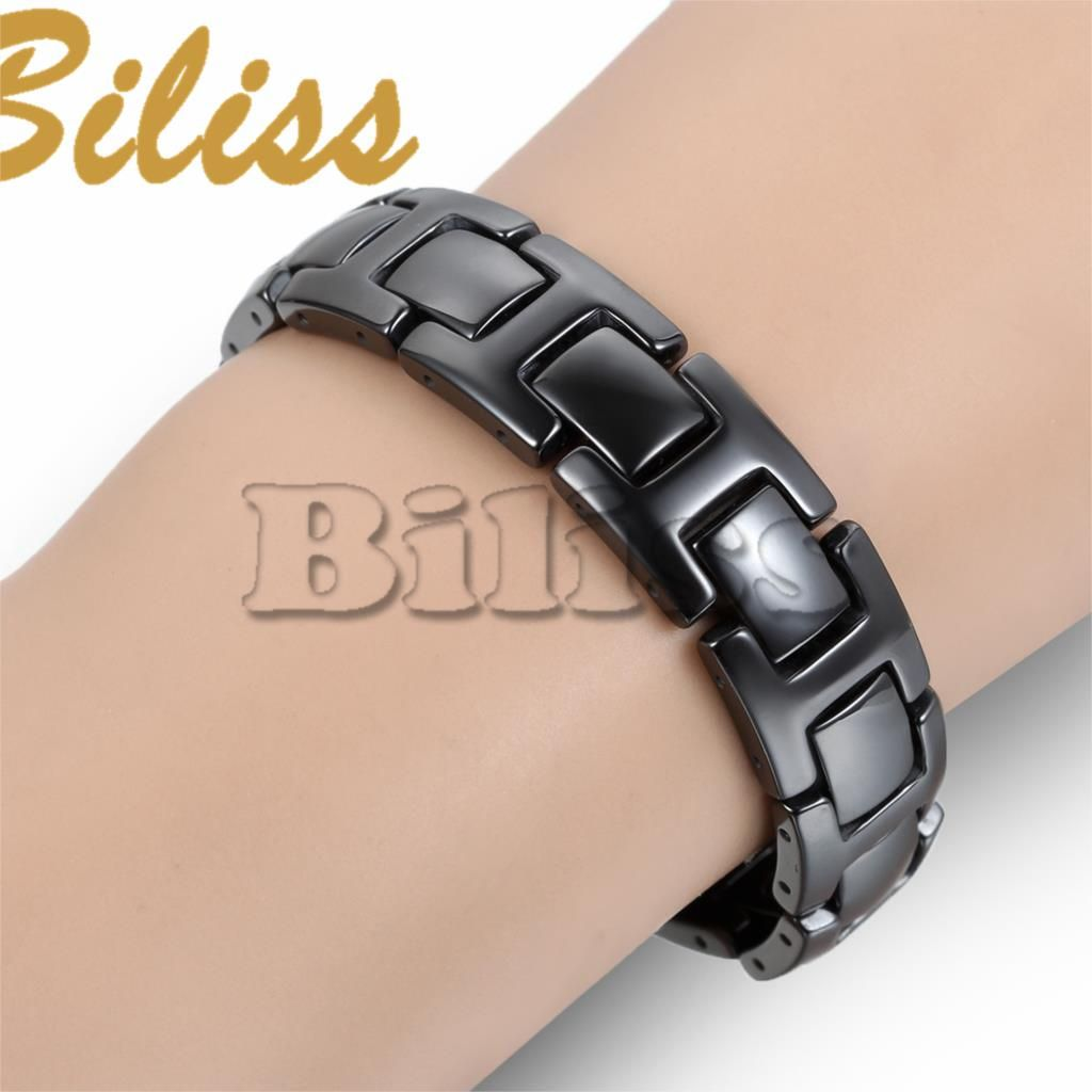 Classic cool black ceramic bracelet magnetic stone therapy health