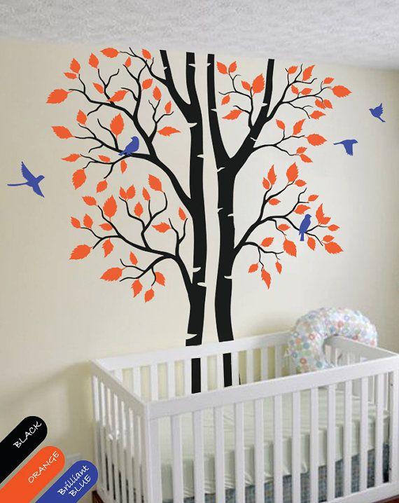 Kinderzimmer wandgestaltung vorlagen  Autums Baum Wand Aufkleber Bäume und Vögel Wand Wandbild Wald Natur ...