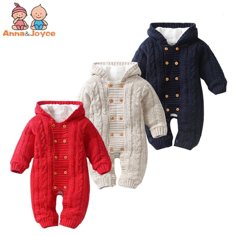 Kids Newborn Infant Baby Girl Boy Winter Warm Coat Knit Outwear Hooded Jumpsuit