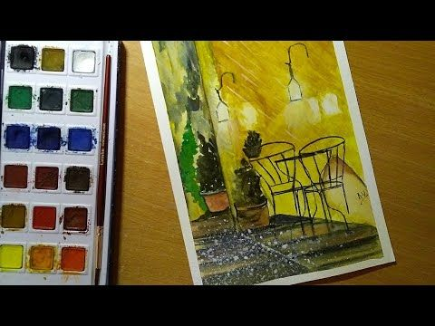 Watercolor Painting Of A Cafe In Rain Watercolor Paintings