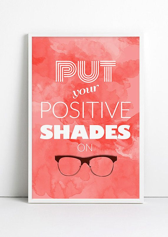 Positive Energy Watercolor Nerdy Glasses Art Hipster by