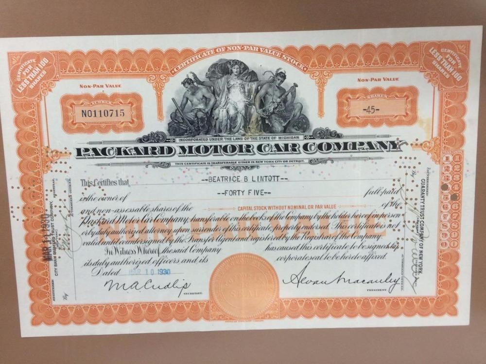 Packard Motor Car Company Antique 1930 Stock Certificate Framed Glass 45 Shares