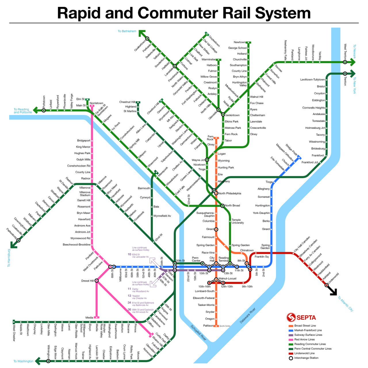 Septa map Modern Trains