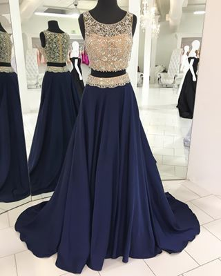 Two Piece Sexy Crystal and Beading Long Formal Evening Dress,O Neck Navy Blue Crystal Two Piece Prom Dresses,Sleeveless Evening Gowns