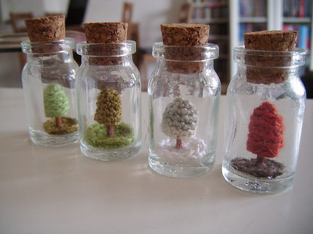 mini trees in a bottle, with tutorial