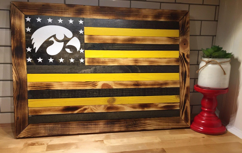 Custom Iowa Hawkeye wooden flag wall hanging | All Things For ...