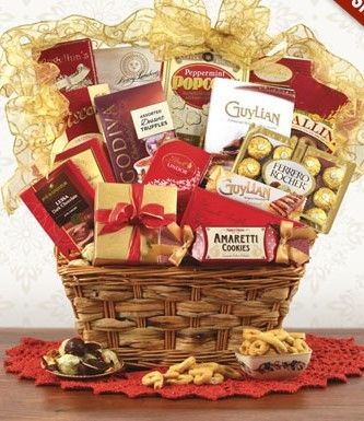 California chandon golden desserts sparkling wine gift basket red and gold gourmet gift basket giftprose negle Images