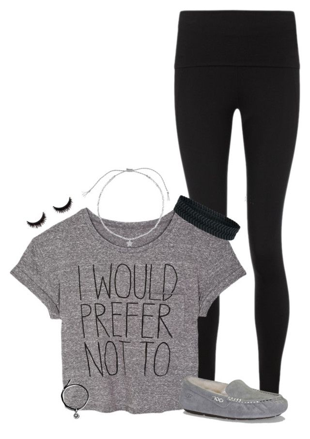 """""""Can you not?"""" by sydneymellark ❤ liked on Polyvore featuring Sweaty Betty, UGG Australia, Estella Bartlett, Alex and Ani, Aéropostale, comfyclothes and smwouldwear"""