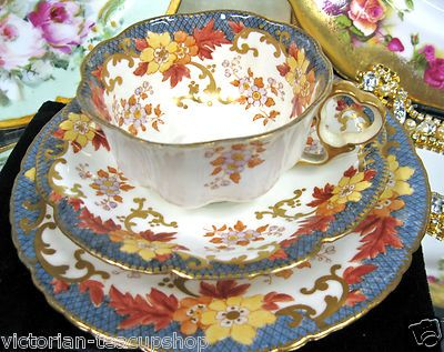 Crown Staffordshire Tea Cup and Saucer Heart Handle