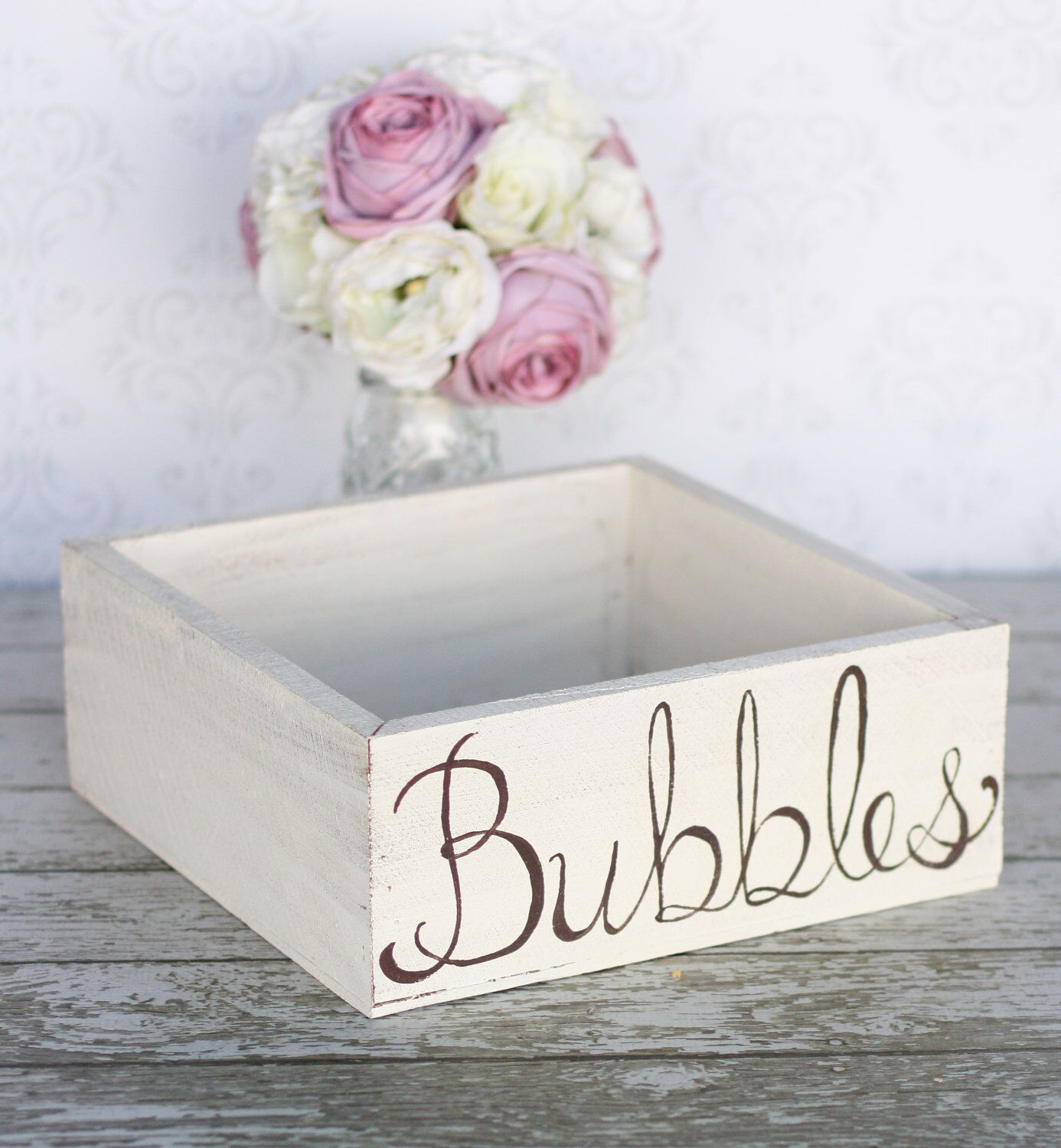 Rustic Wedding Box or Tray For Bubbles Favors Cards Program YOU PICK ...