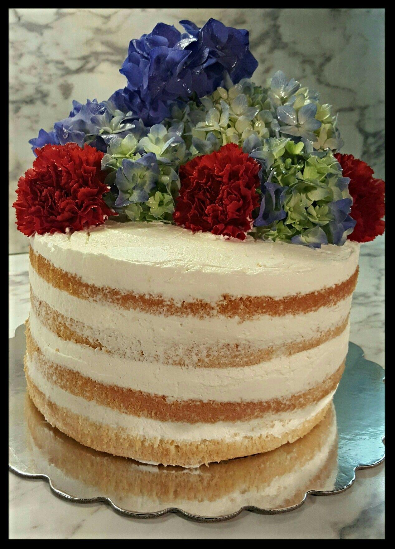 Naked cake. Valrhona modeling chocolate used to create hydrangeas ...