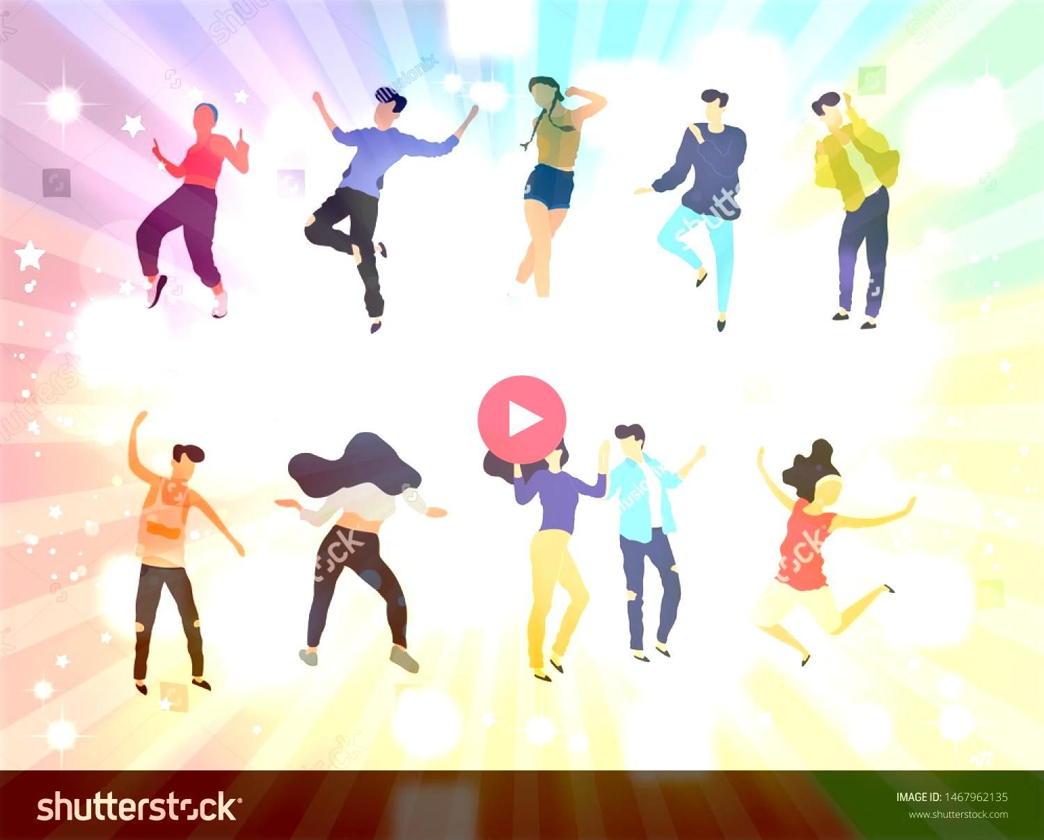 of young people dancing at club Big set of characters having fun at party Flat colorful vector illustration  Vector Crowd of young people dancing at club Big set of chara...